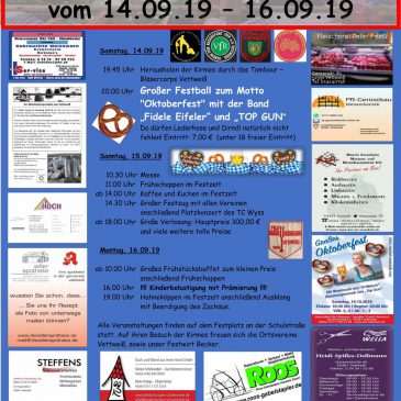Kirmes 2019 der Ortsvereine Vettweiß vom 14.09. – 16.09.2019