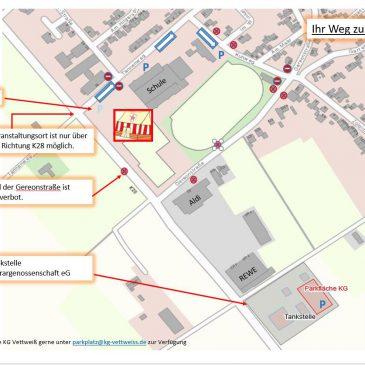 Verkehrsregelung anlässlich der Herren- und Damensitzungen in Vettweiß 2020